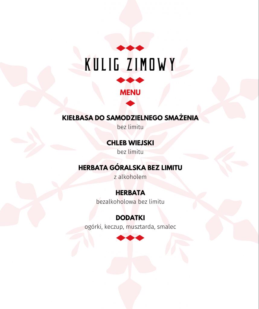 Kulig Zimowy - Menu - Kiełbasa, Chleb, Herbata, Dodatki